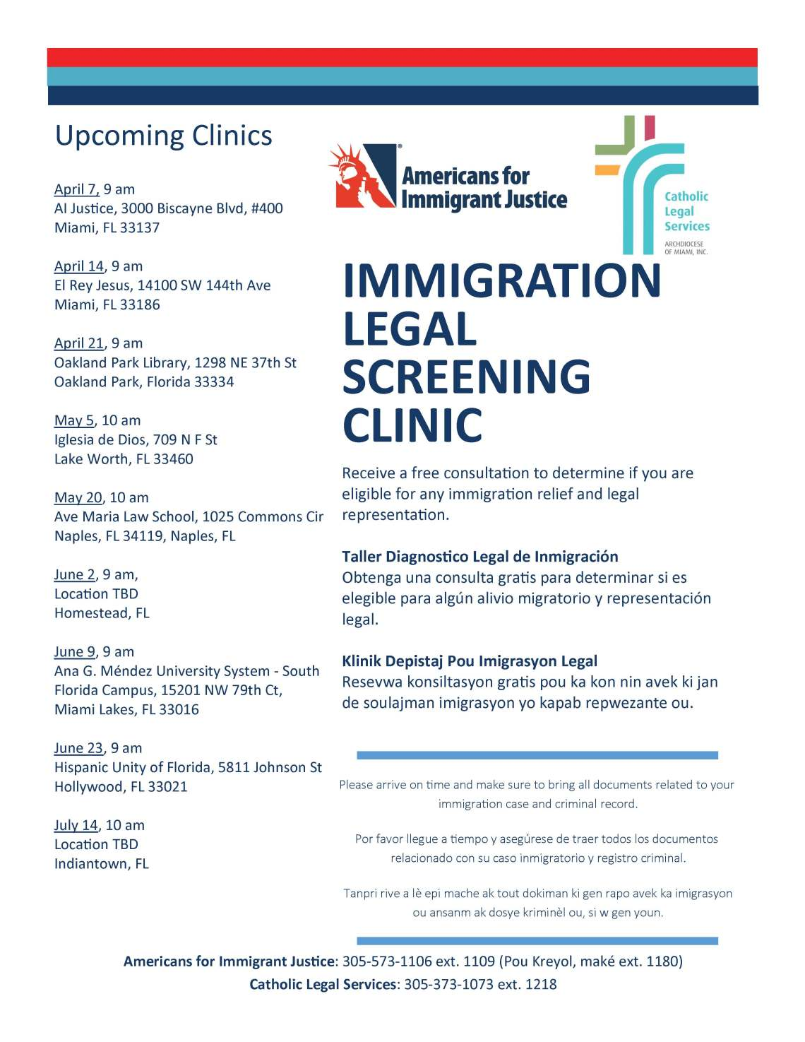 Clinic Flyer (upcoming events thru July 2018)